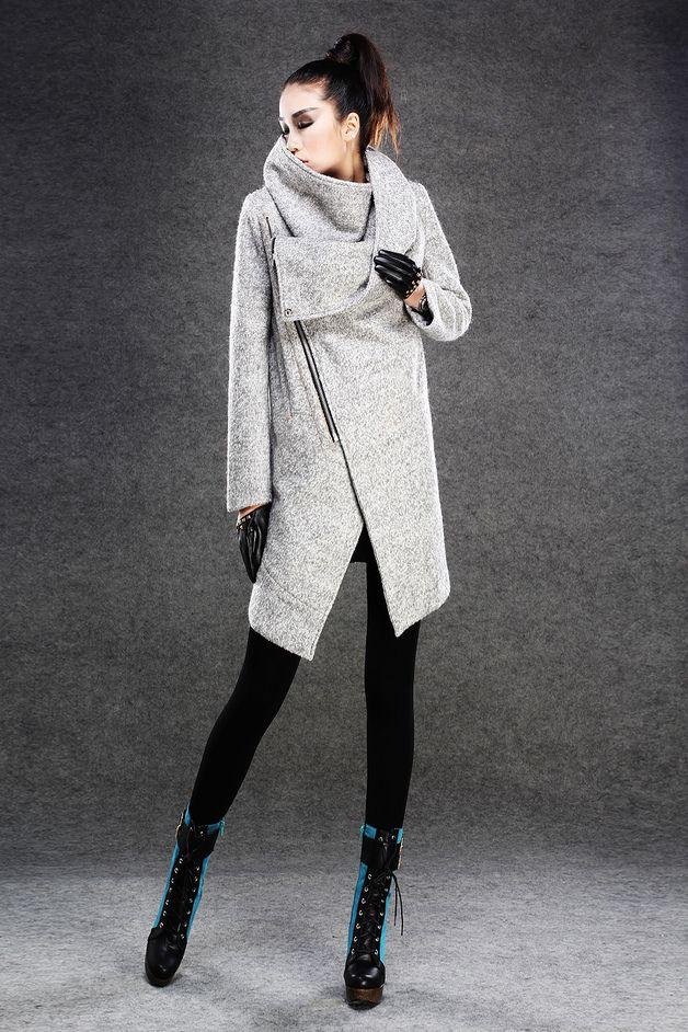 Lange Mäntel - Grau Mäntel Jacken Wintermäntel für Wome - ein Designerstück von Lu-yahui bei DaWanda