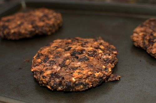 "Need dinner fast? Don't have much in the house? Here is my lazy Friday dinner meal--quickie black bean burgers. I sometimes call these ""hotel room burgers"" because I originally developed them in a hotel room while on vacation!"