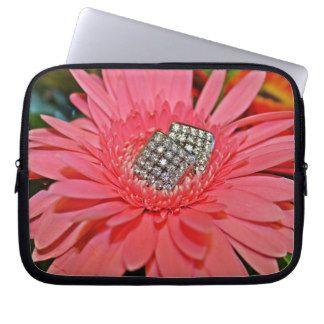 Pink Daisy with Diamonds Laptop Sleeve