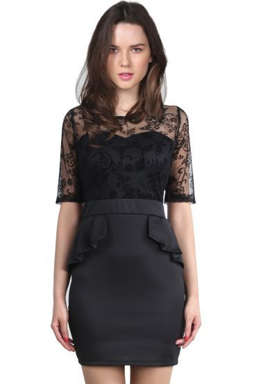 Black Contrast Lace Sheer Mesh Yoke Bodycon Dress pictures