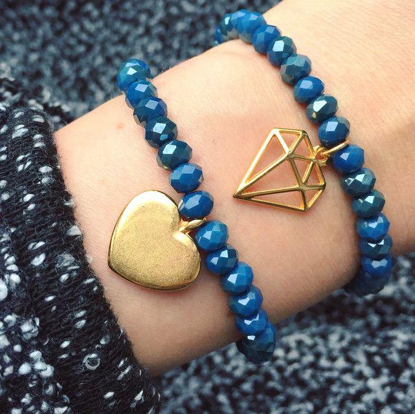 """Armbänder - Facettenperlen Armband blau mit Anhänger """"Herz"""" - ein Designerstück von bracelens bei DaWanda  #armband #armbänder #dawanda #shop #handmade #handgemacht #fashion #bracelet"""