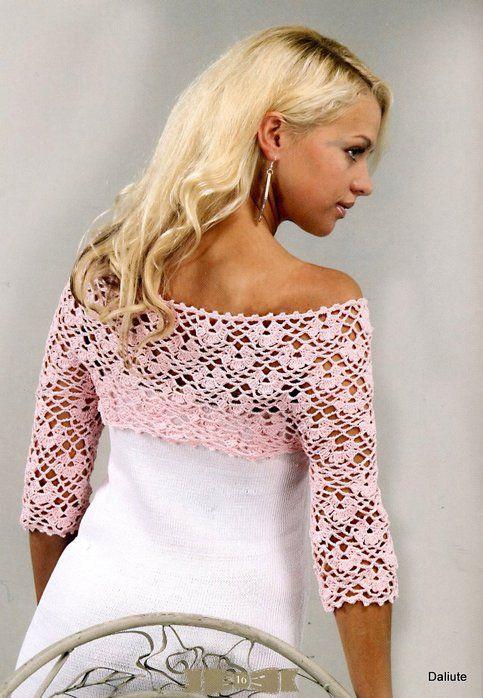 boleros | Bolero rosa a crochet