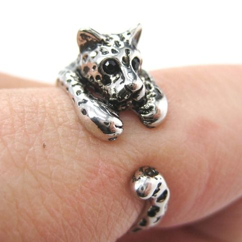 $10 Miniature Leopard Cat Animal Wrap Ring in SHINY Silver - Sizes 4 to 9