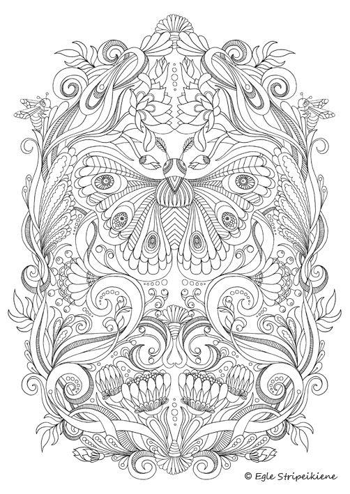 Coloring Page for Adults Butterfly by Egle Stripeikiene. Size -A3 Publisher: www.almalittera.lt