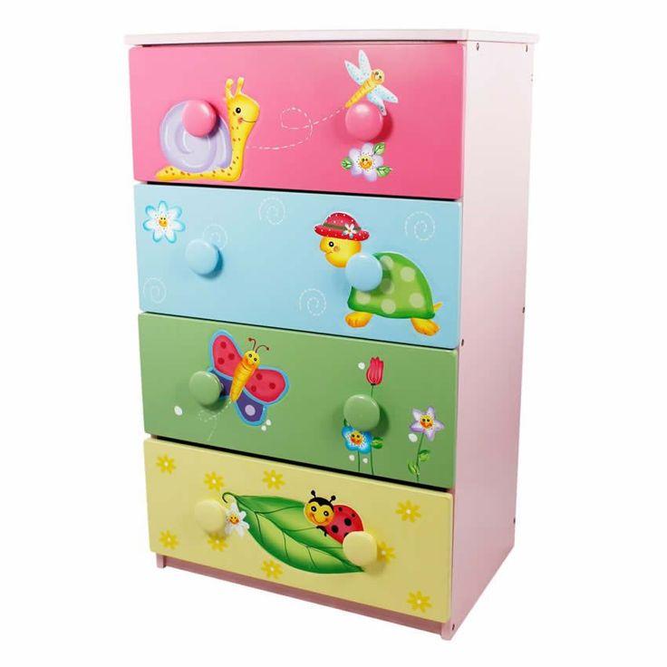 Magic Garden 4 Drawer Cabinet w/8 Handles www.sweetretreatkids.com #sweetretreatkids #kidsdresser #kidsstorage #kidschest #4drawerdresser #chestofdrawers #turtlechest #butterflychest