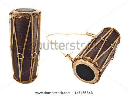 Conga percussion drum instrument isolated over white background, set of two foreshortenings