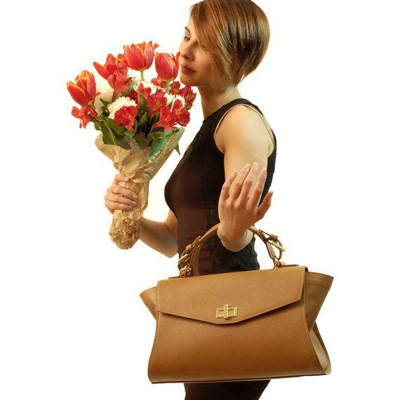 Leather handbag shoulder bag bags women's handbag by GanzaDesign