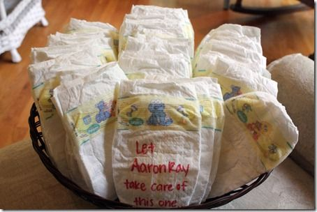 A great idea for a baby shower, have the guests write a special message on the diapers.  When mom is changing her babe she can be encouraged.