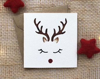 hand geschilderd kaart, xmas kaarten, kerstkaart, rendieren card, handmade christmas, leuke kerstkaart, rudolph Kerstmis, rudolph kaart