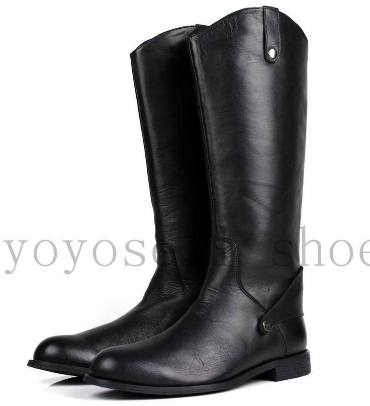 Большой размер 2016 мода черные гольфы мужские сапоги из натуральной кожи сапоги для верховой езды мужские мотоцикла сапоги мужские зимние сапоги обувь