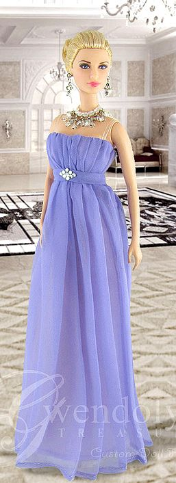 Grace Kelly Barbie dressed in Gwendolyn's Treasures periwinkle chiffon gown