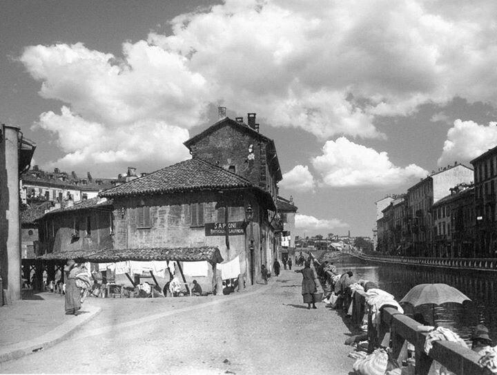 Vecchia Milano Vicolo Lavandai anni 900