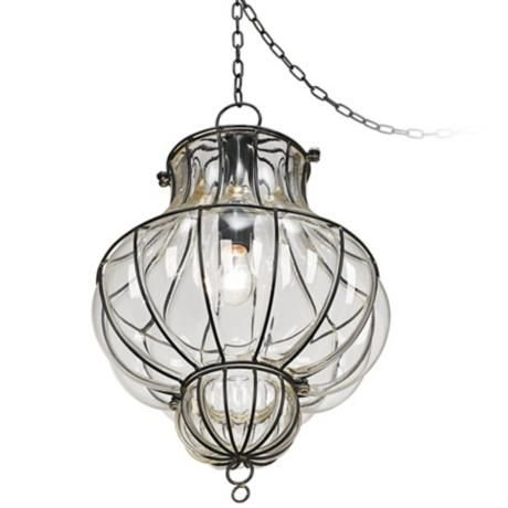 Over The Island Centinela Lantern 12 Wide Glass Plug In Swag