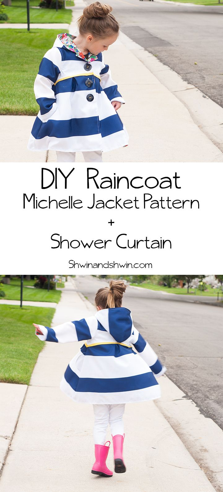DIY Raincoat || Michelle Jacket || Shwin&Shwin. WHAT A SMART IDEA- USING SHOWER CURTAINS AS RAINCOAT MATERIAL