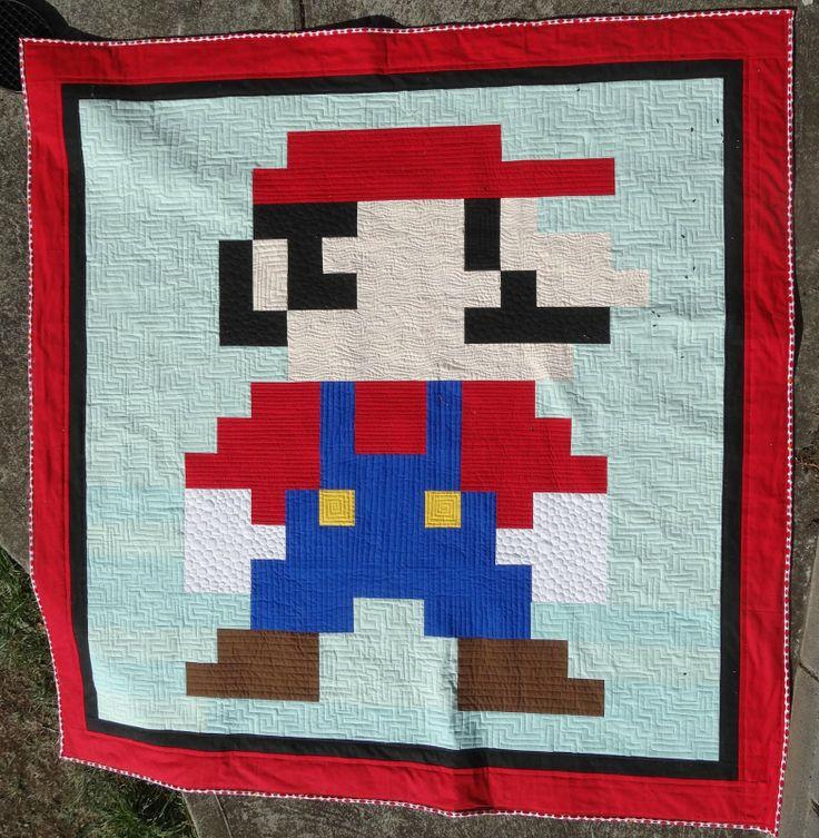 The Elven Garden: Super Mario Quilt {Finish} Kona Cotton Solids Pinterest Gardens, Fabrics ...