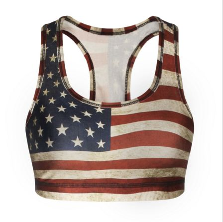 3D American Flag Sports Bra