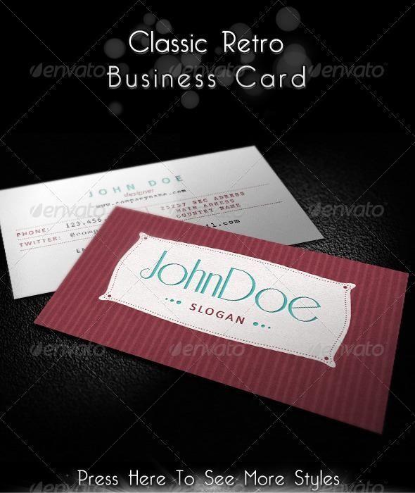 Classic Retro Business Card Vintage Business Cards Retro Business Card Business Card Design Inspiration