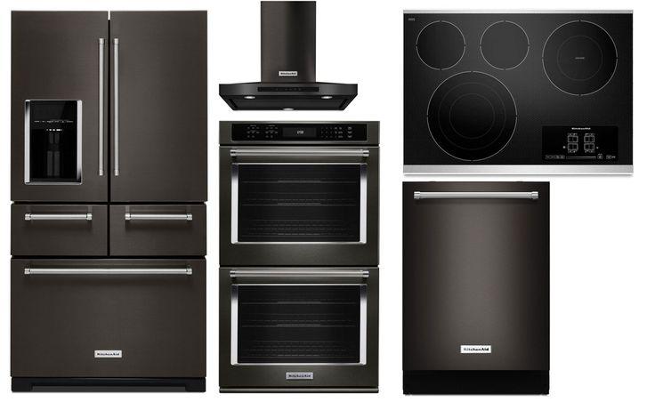 KitchenAid zwarte keukenapparatuur. Nieuw in 2017 - Black Stainless Steel Range met French Door koelkast, vaatwasser, ovens