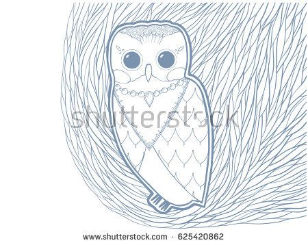 Owl vector illustration. Hand-drawing.