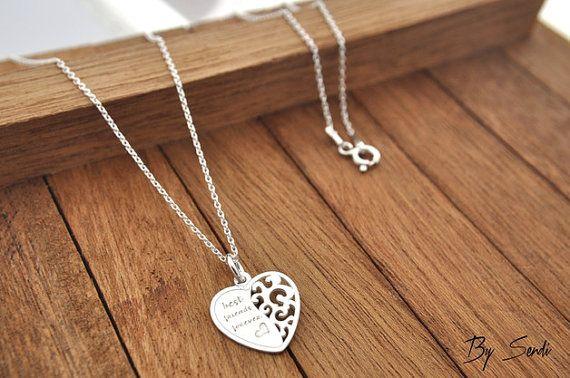 Sterling Silver heart necklace, heart pendant, silver heart, heart, little heart, a heart for her, for friend, best friend, necklace BFF