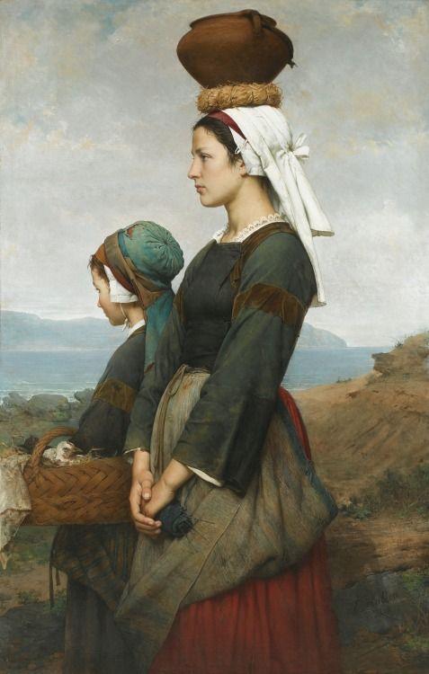 Le Chemin du Marché, Finistère. 1878. Emile Auguste Hublin