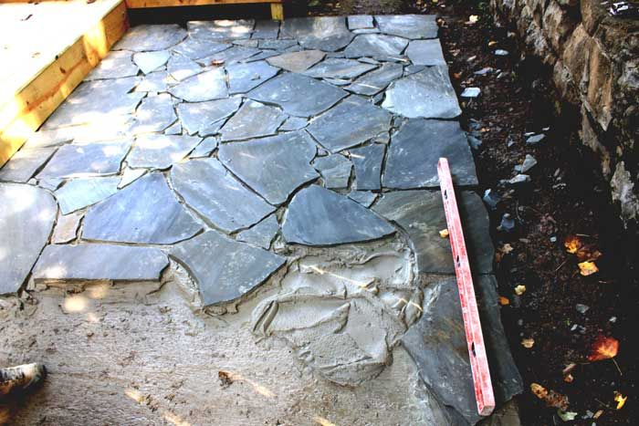 Flagstone This Is A Flagstone Patio Being Laid Over A