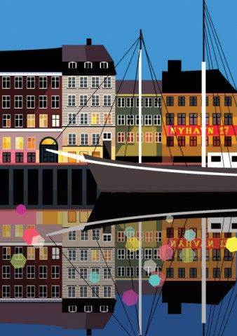 A5-Nyhavn-Night-postcard-front, love the colours and the crisp design