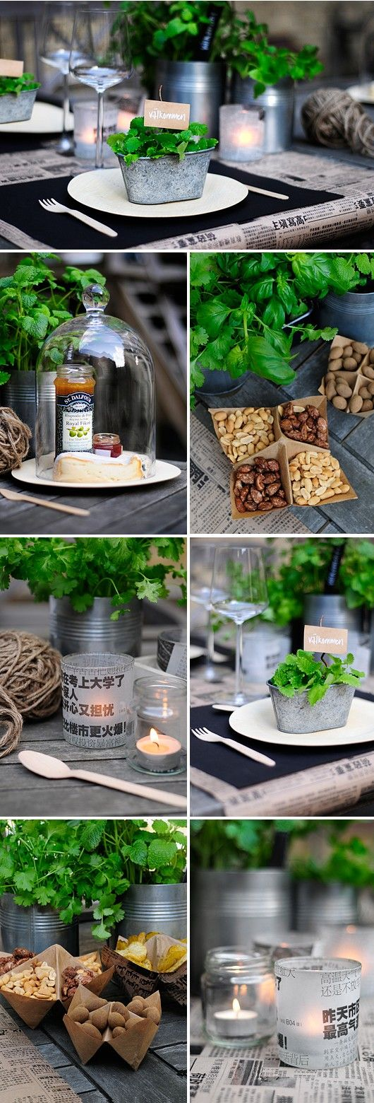 table decorations w herbs and nuts
