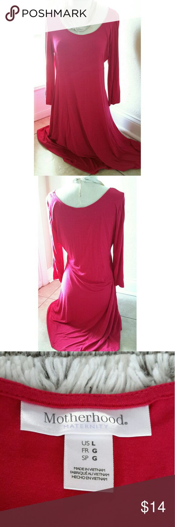"""Motherhood Maternity Pink Dress Gorgeous pink maternity dress! 18"""" sleeve. 38"""" length. 32"""" bust. 34"""" waist. May fit below knee but depends on height. Size large. First two pictures depict best color of dress. Questions are welcomed. Motherhood Maternity Dresses Midi"""