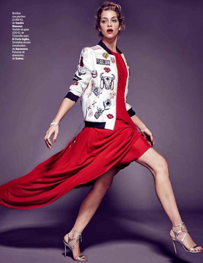 Ana Beatriz Barros models Sandra Mansour bomber jacket with El Corte Ingles dress and Aquazzura heels for Yo Dona Magazine Canada Spain December 2016 issue
