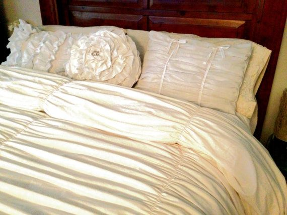 White Gathered King Duvet Cover And Ruffle Pillow Set