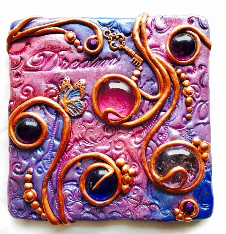 Tiles of my secret garden. Polymer clay art. Glass, mosaic.