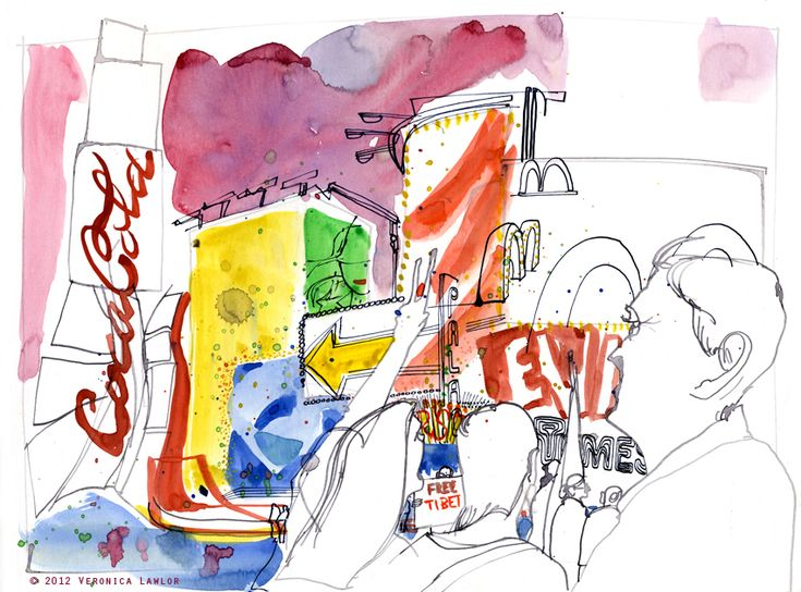 Urban Sketchers: Summer In Times Square, NYCTime Squares, Urban Sketches, Urban Sketchers Globs, Beautiful Illustration, Times Square