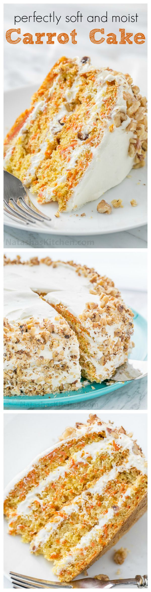 This Classic Carrot Cake recipe has been handed down through generations. This carrot cake is soft, moist, marshmallow-like frosting and not overly sweet. YUM! | natashaskitchen.com