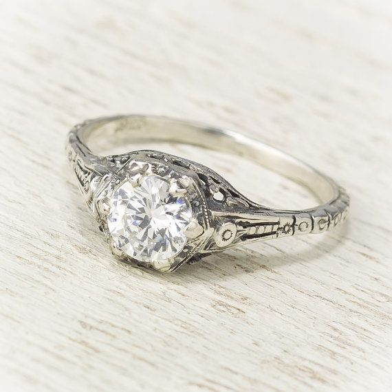 filigree antique vintage engagement ring