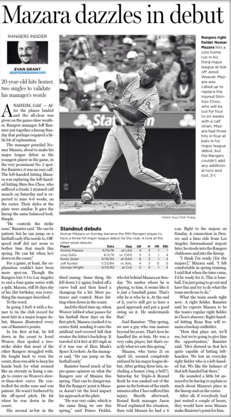 Nomar Mazara Dazzles in Debut. Texas Rangers rookie has a great debut with 3 hits and a homer vs the Angels on April 10, 2016 article in The Dallas Morning News by Evan Grant #Texas #Rangers #TexasRangers #MLB #Baseball #NomarMazara