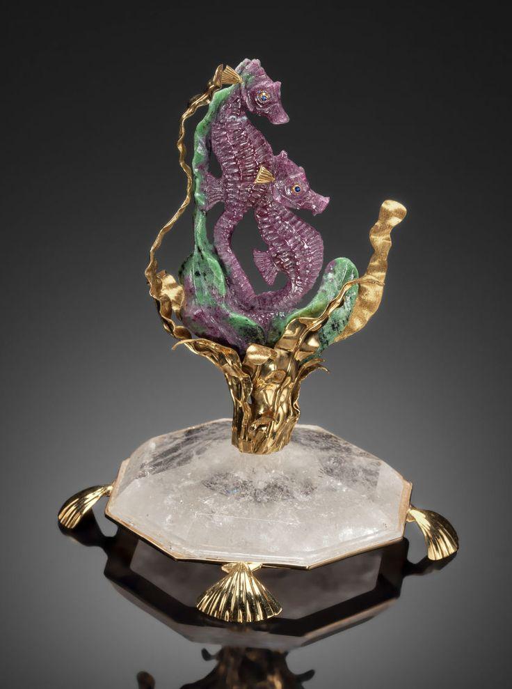 Lapidary art carvings ruby zoisite seahorse pair