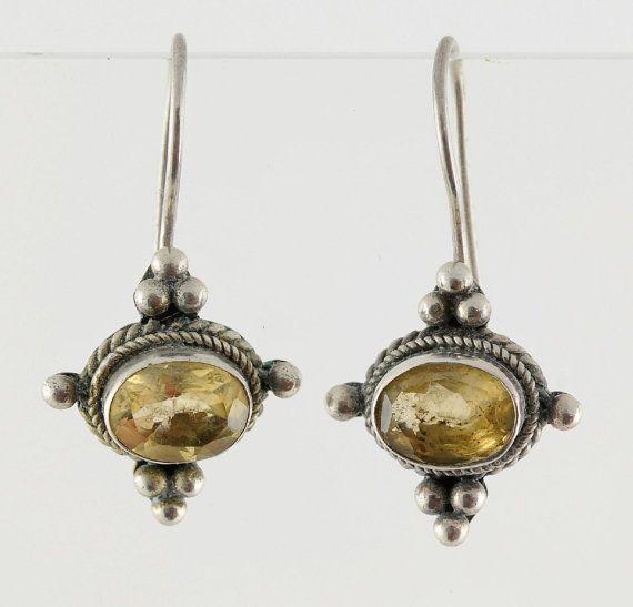 Sterling Silver Citrine Earrings Stamped by Orangebirdofparadise