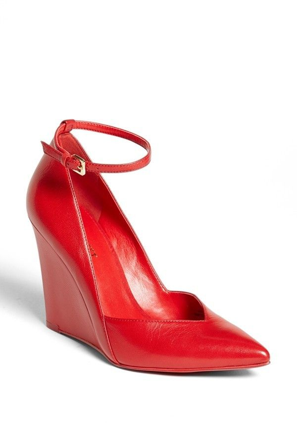 $98, Red Leather Wedge Pumps: Nine West Eviee Leather Wedge Pump. Sold by Nordstrom. Click for more info: https://lookastic.com/women/shop_items/19670/redirect