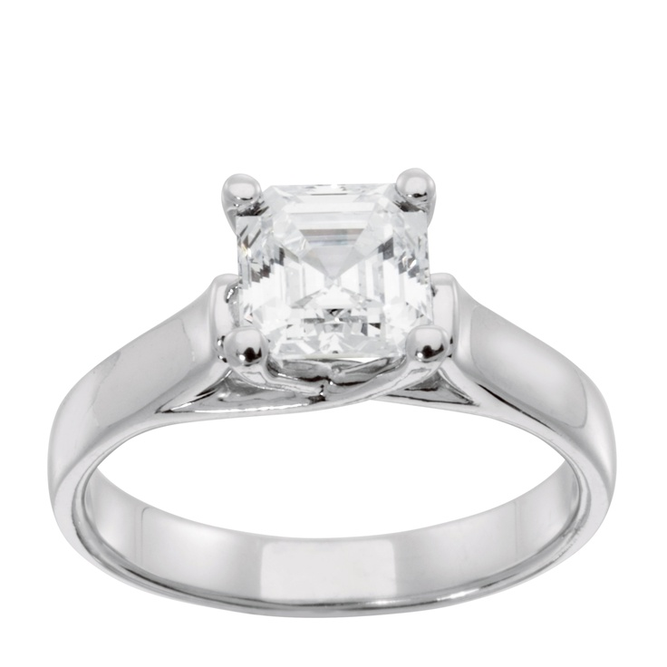 14K White Gold 0.75 ct Princess Cut Lab Created Engagement Ring $715