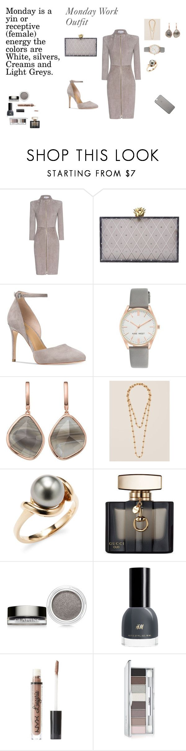 """""""Monday Work Outfit-Grey"""" by rebeccadavisblogger on Polyvore featuring Jitrois, Charlotte Olympia, Michael Kors, Nine West, Monica Vinader, Francesca's, Tara, Gucci, Clarins and Charlotte Russe"""