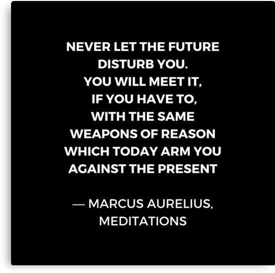 Stoic Wisdom Quotes – Marcus Aurelius Meditations – Never let the future disturb you   Canvas Print