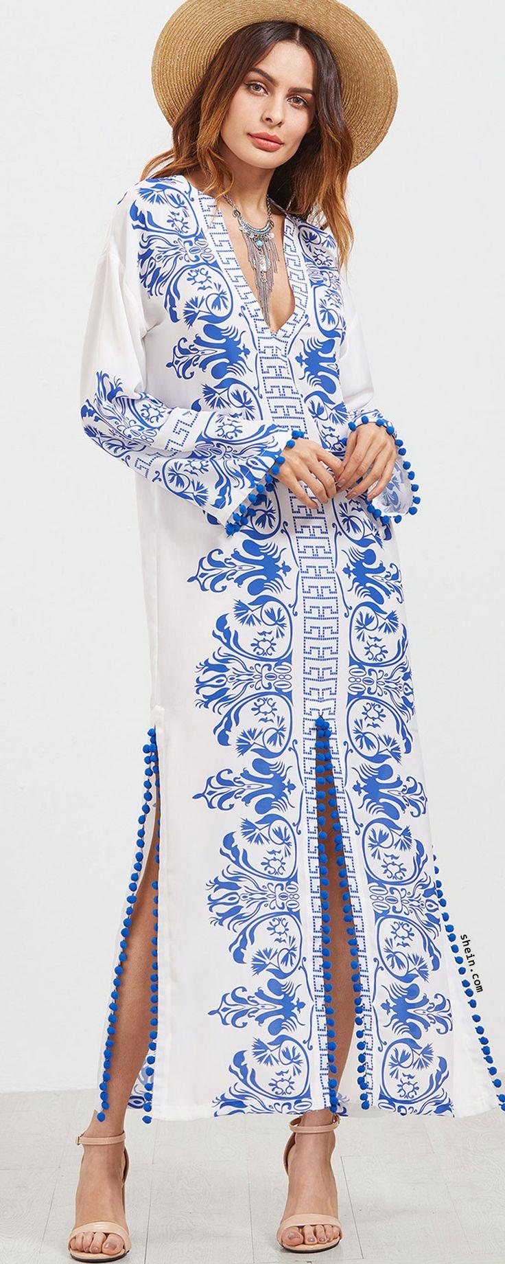 Blue Vintage Print Deep V Neck Pom Pom Trim Slit Dress