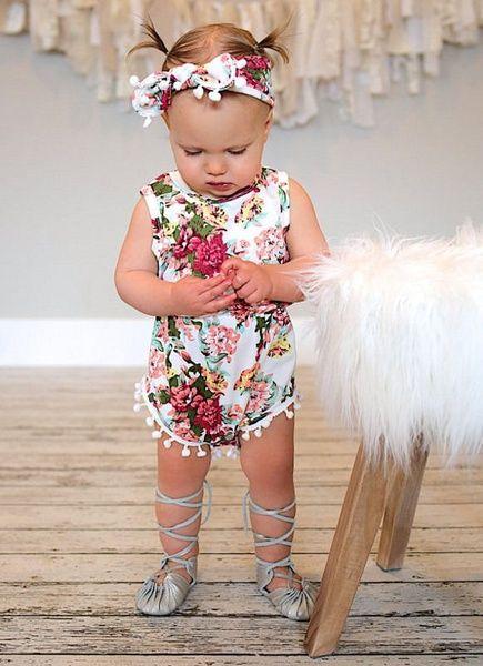 f86a91f0c265 Floral Newborn Baby Girls Bodysuit Romper Jumpsuit One-pieces ...