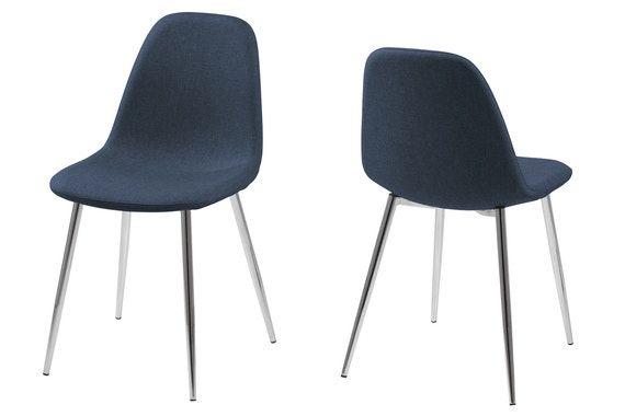 Wilston spisebordsstol - blå med krom ben