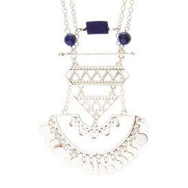 The 25 best aztec pendants ideas on pinterest pirates of the silver with blue beads aztec pendant necklace mozeypictures Images