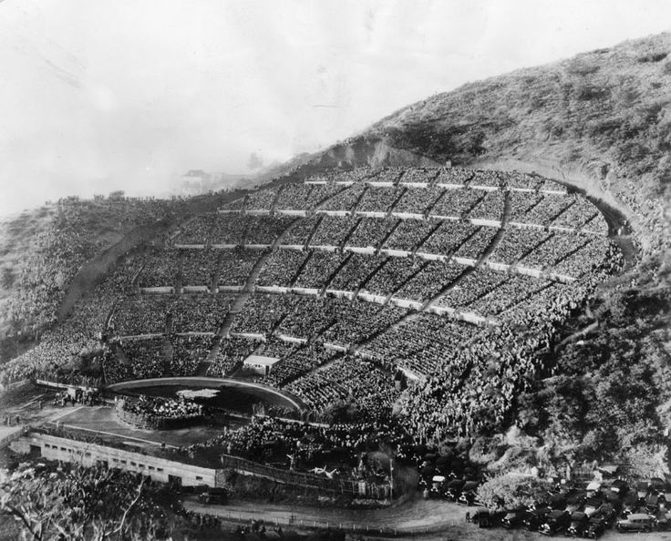 Hollywood Bowl 1927 - The sunrise services began in 1919 as a gathering for silent film stars near the site of the Hollywood Bowl and moved to the facility in 1921. Back then, the bowl was basically a hillside blanketed with rocks and weeds, but the area had good natural acoustics