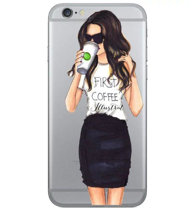 Beautiful Girl drink coffee Design Case For iphone 6 Case For iphone 6S 6 Plus 5 5S SE Transparent TPU Cover Fashion Phone Cases