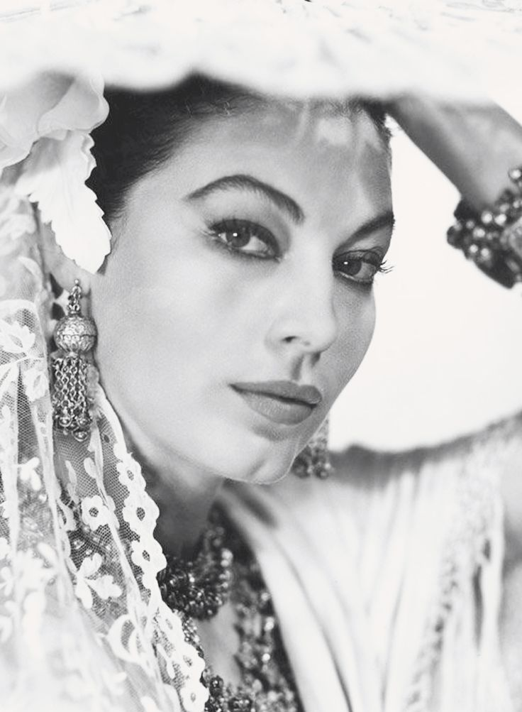 Ava Gardner photographed by George Hoyningen-Huene. A promotional shot for the filmBhowani Junction (1956).