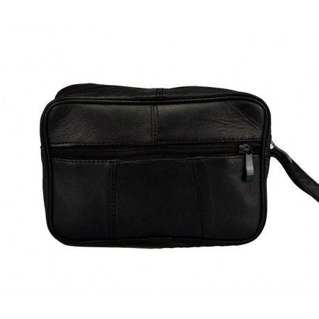 Herre taske med håndledsrem, lavet i sort kalveskind.